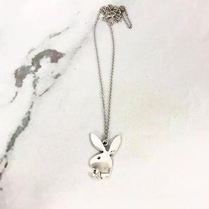 NEW Playboy bunny silver logo pendant necklace
